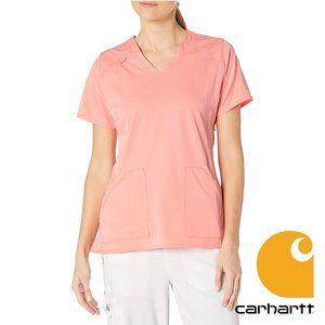 Carhartt Women's V-Neck Scrubs, Peach Pink, Small